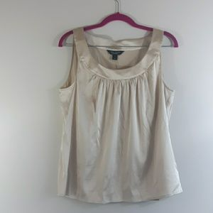 St. John Couture Champagne/Gold Silk Shell Tank